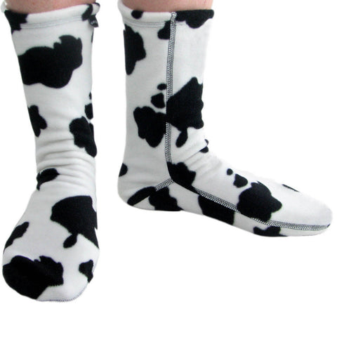 Polar Feet Fleece Socks in Cow Nonskid Sole v3