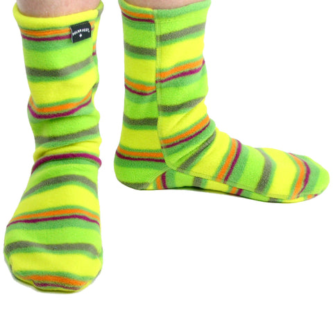 Polar Feet Fleece Socks in Limeade Regular Sole