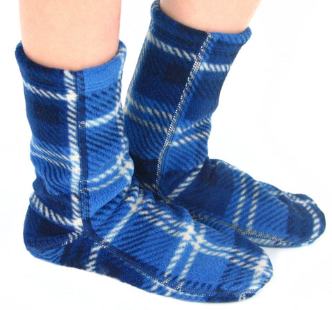 Kids' Fleece Socks - Blue Flannel