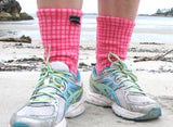 Polar Feet Fleece Socks - Pink Gingham