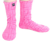Polar Feet Fleece Socks in Pink Gingham