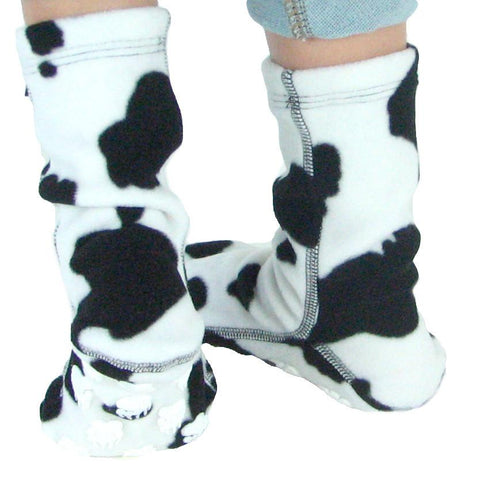 Polar Feet Kids Nonskid Fleece Socks - Cow