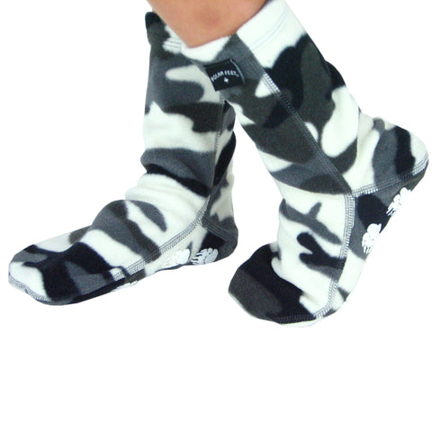 Polar Feet Kids Nonskid Fleece Socks - Snow Camo