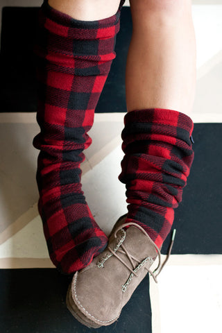 Over The Knee Fleece Socks - Lumberjack