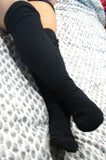 womens black fleece knee high socks by Polar Feet