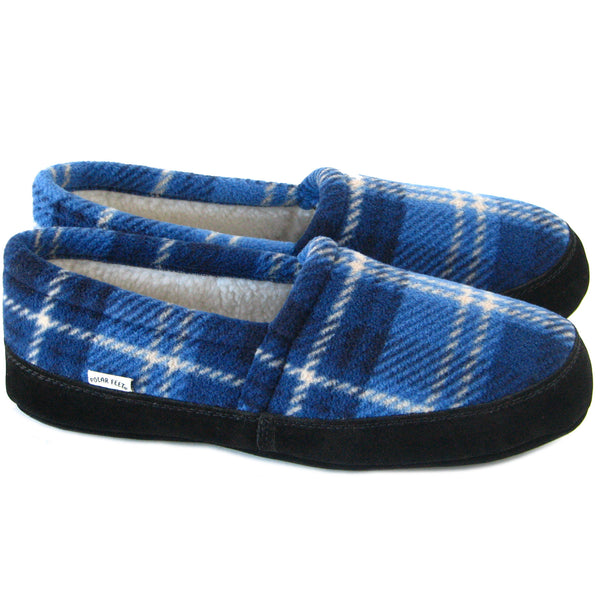 Polar Feet Men's Perfect Mocs in Blue Flannel Pair