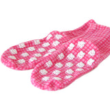 Polar Feet Fleece Socks in Pink Gingham nonskid sole