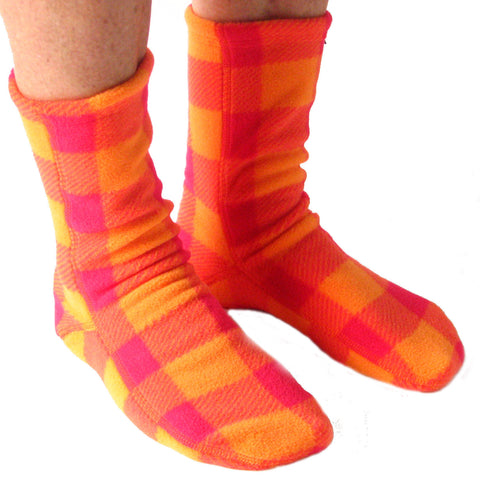 Polar Feet Fleece Socks in Raspberry Sunrise