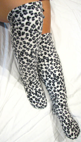 Over The Knee Fleece Socks - Snow Leopard