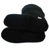 Polar Feet Women's Snugs Slippers in Black Berber with Real Suede Soles