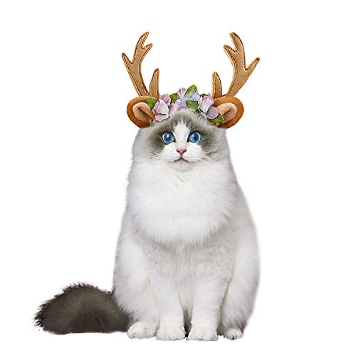 Aviling Cat Dog Puppy Santa Antler Hat Headband