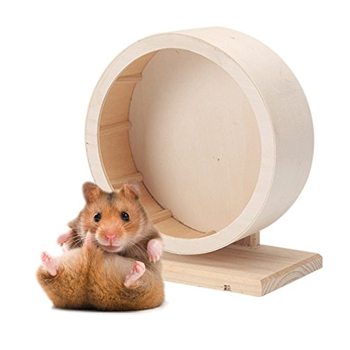 Petacc Pet Wooden Exercise Wheel Mute Hamster Running Wheel
