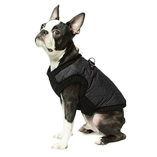 Gooby Fashion Check Quilted Bomber Dog Vest with Stretchable Chest