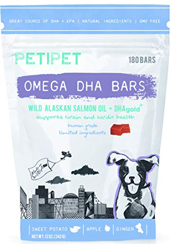 Petipet Omega DHA Bars - Fish Oil Supplement for Dogs with Wild Alaskan Salmon Oil, Shedding and Itching Relief, Skin and Coat Health, Omega 3