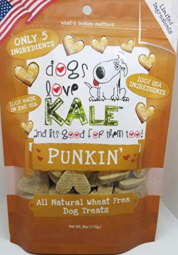 Dogs Love Kale Dog Treats, Crunchy Pet Snacks, Organic, Gluten-Free, Corn-Free, and Soy-Free, 6 Calories, 6 oz. Bags