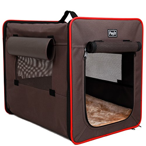 Petsfit Foldable Soft Sided Pet Kennel, Wire Frame Pet Fabric Crate