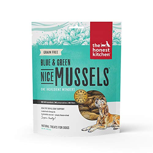 The Honest Kitchen Nice Mussels Dog Treats - Natural Human Grade Freeze Dried Treats, Blue & Green Mussels, 2 oz