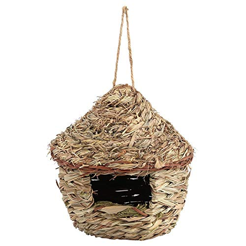 Fdit Handwoven Straw Bird Nest Cage House Hatching Breeding Cave