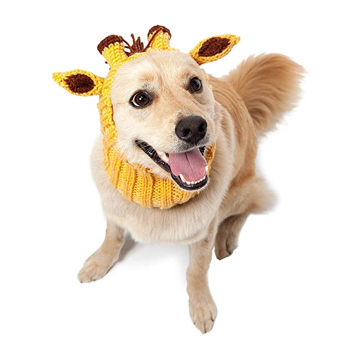 Zoo Snoods Giraffe Dog Costume - Neck Ear Warmer Headband Protector