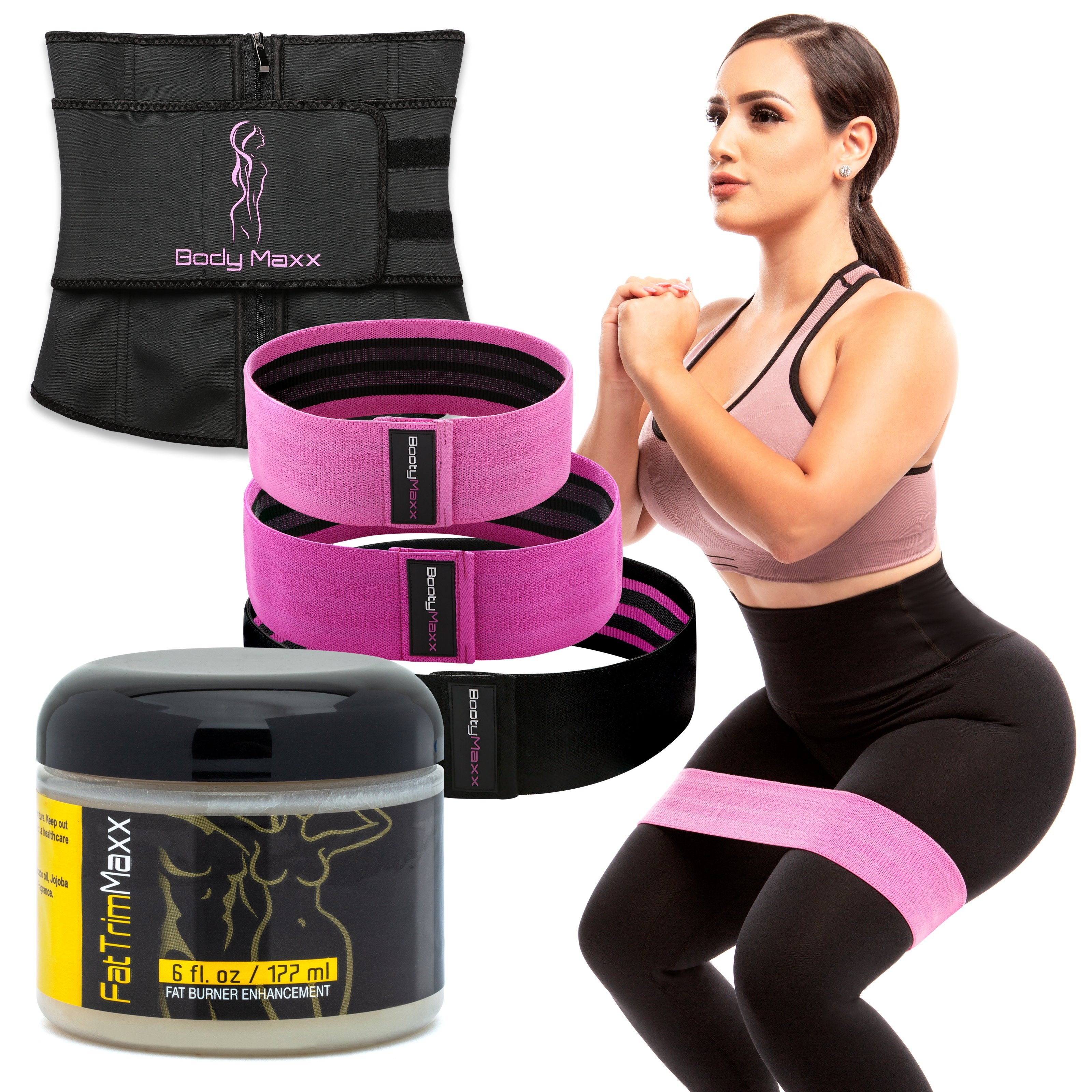 68b56ac4adc Waist Trainer + Fat Trim Cream + Booty Fitness MAXX Kit (3 Bands ...