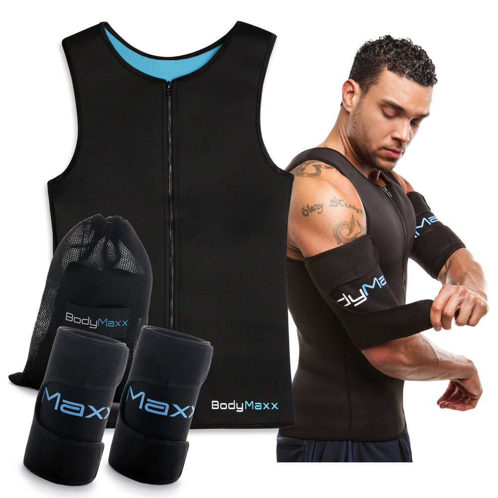 body maxx mens body slimmer vest and arm slimmers sweat shapers