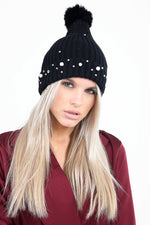 Luxury Pearl Detailed Black Pom Pom Hat