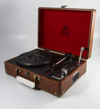 Retro Vintage Record Player Portable USB Vinyl Turntable Briefcase Style Built-in Speakers