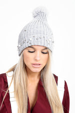 Luxury Pearl Detailed Grey Pom Pom Hat