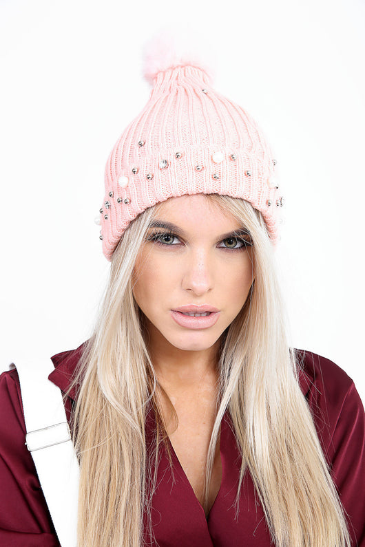 f2a10fd7052 Luxury Pearl Detailed Pink Pom Pom Chunky Knitted Hat – Fraser ...
