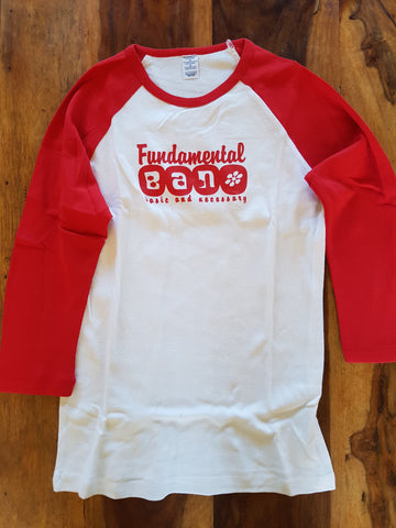 Fundamental B.A.N. Long Sleeve Red and White Limited Edition Girl's T Shirt