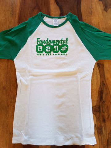 Fundamental B.A.N. Limited Edition Girl's Small T Shirt Green and White