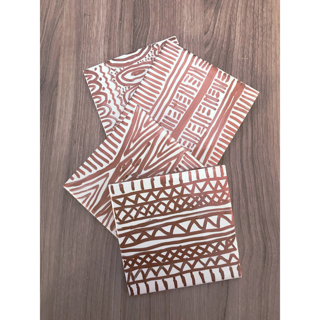 Set of 4 Copper African inspired Ceramic Tile Coasters - yrdsgn2