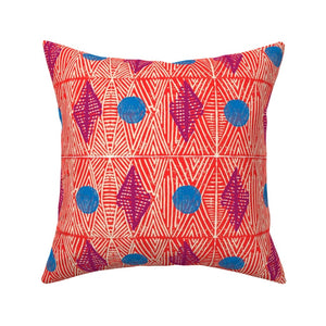 Tribal Marks Blue Dots Pillow Cover