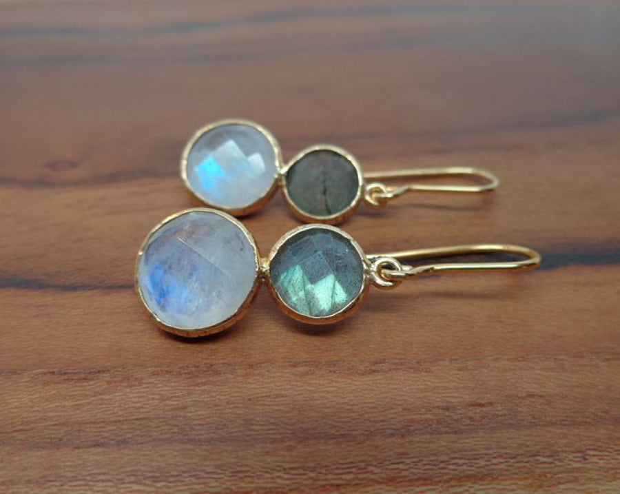 LABRADORITE MOONSTONE GOLD EARRINGS SONIA TONKIN