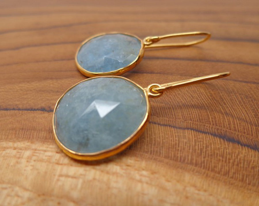 ORGANIC AQUAMARINE GOLD EARRINGS