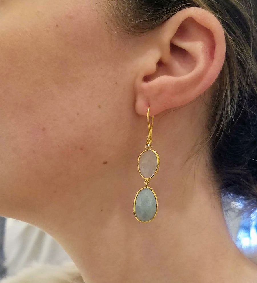 AQUAMARINE GOLD EARRINGS