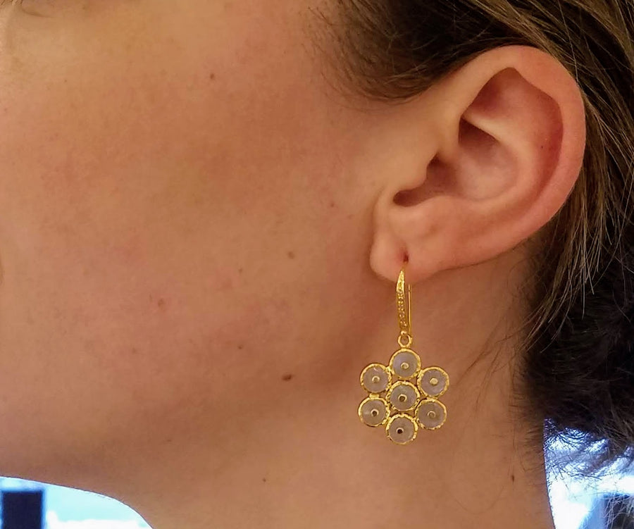 PAVE DIAMOND HUGGY SUN EARRINGS