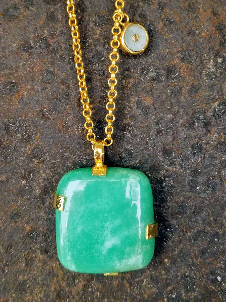 CHRYSOPRASE GOLD NECKLACE