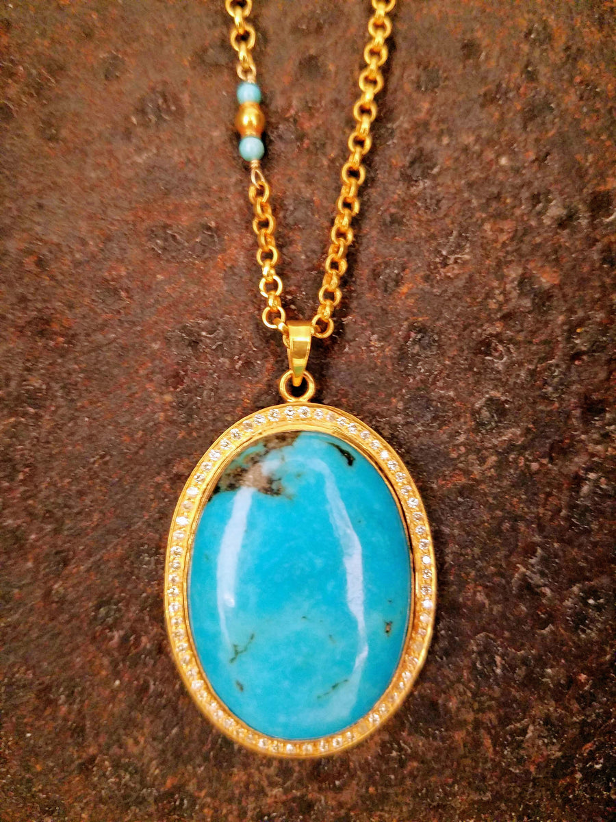 TURQUOISE PAVE DIAMONDS NECKLACE