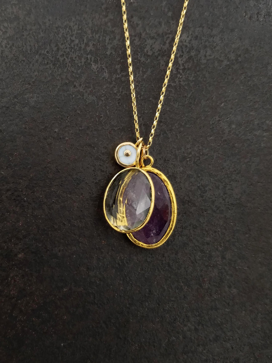 RUBY CITRINE GOLD NECKLACE