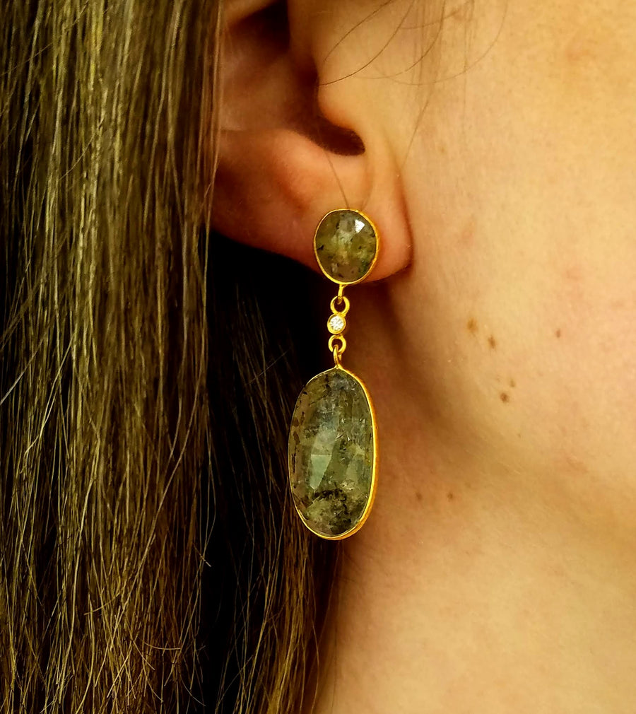 GREEN BERYL DIAMOND GOLD EARRINGS
