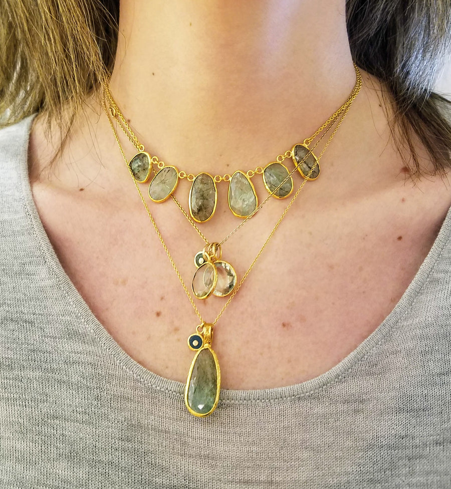 PREHNITE  GOLD NECKLACE