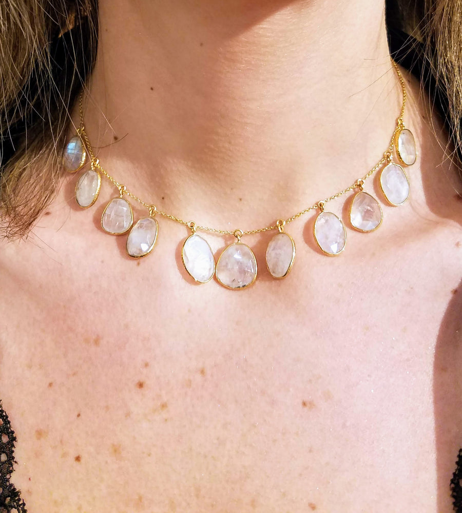 MULTI MOONSTONE GOLD NECKLACE