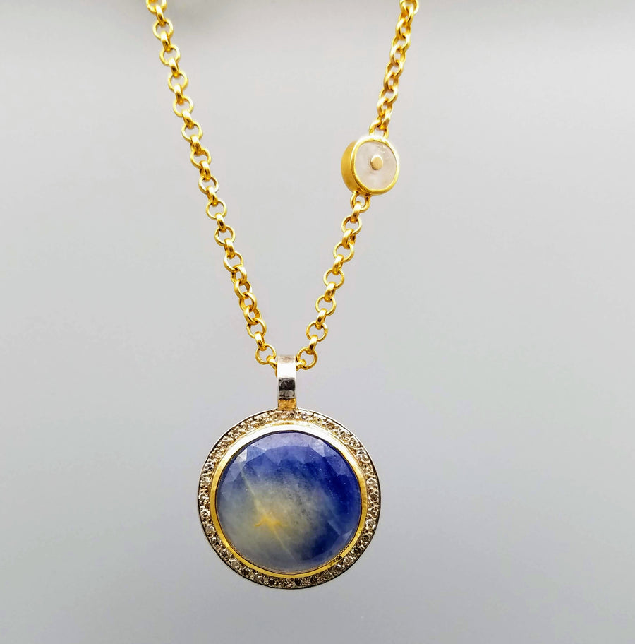 NATURAL SAPPHIRE DIAMONDS GOLD NECKLACE