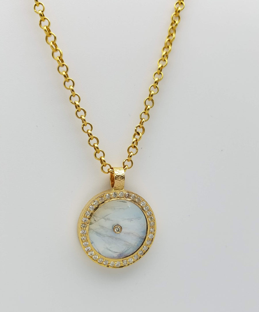 RAINBOW MOONSTONE PAVE DIAMONDS GOLD NECKLACE SONIA TONKIN