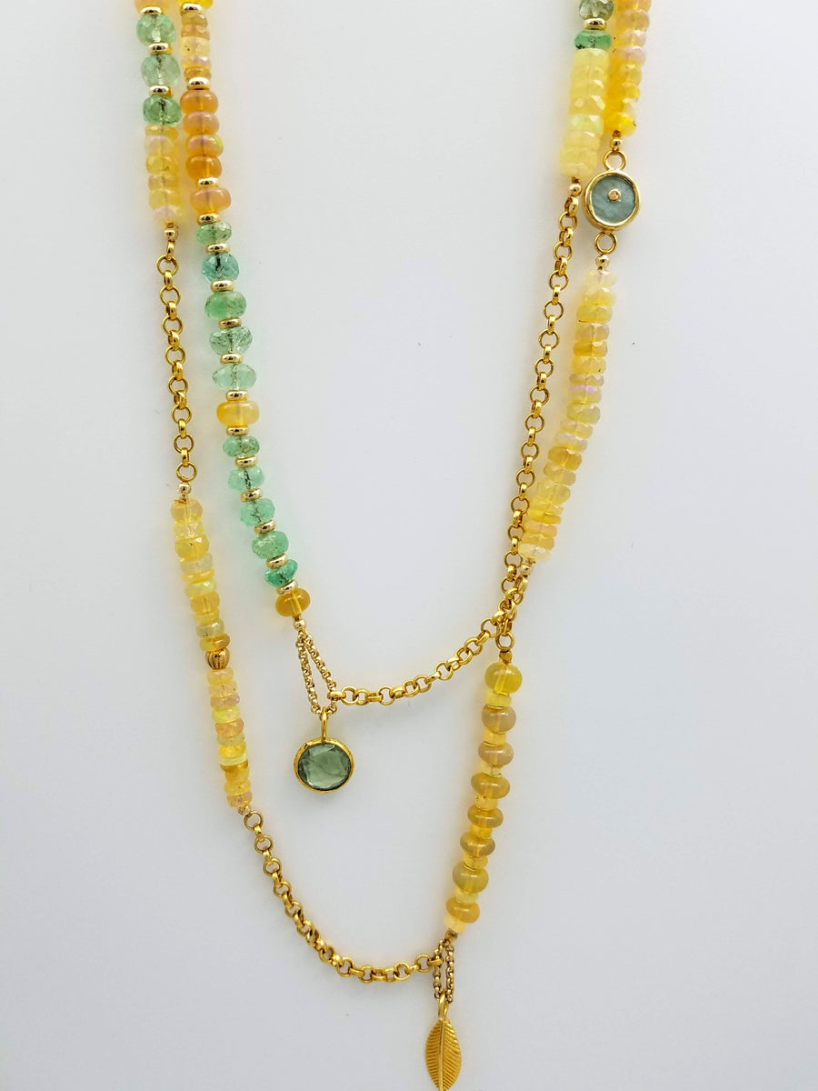 OPAL EMERALD LONG NECKLACE