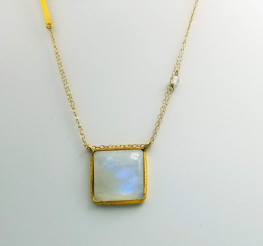 SQUARE CAB MOONSTONE GOLD  NECKLACE SONIA TONKIN