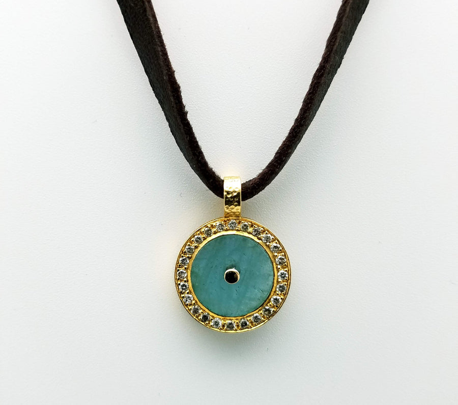 AQUAMARINE DIAMONDS LEATHER GOLD NECKLACE
