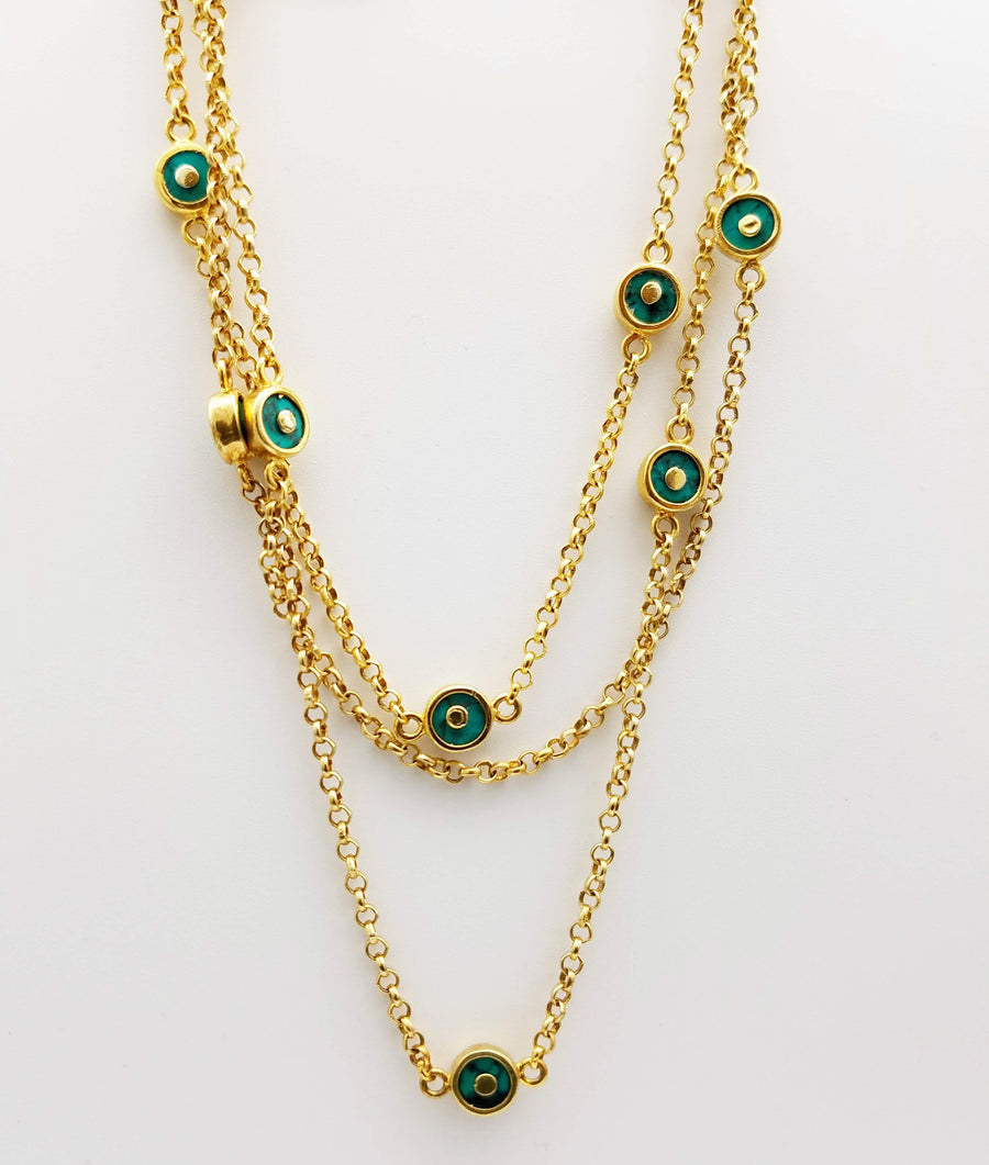 TURQUOISE SIGNATURE GOLD NECKLACE