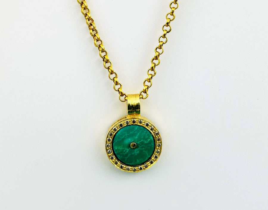 TURQUOISE EMERALD SIGNATURE GOLD NECKLACE SONIA TONKIN